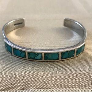 Vintage Sterling Silver Turquoise Cuff Bracelet
